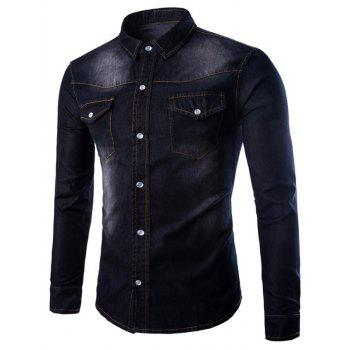 Button Up Breast Pocket Washed Denim Shirt