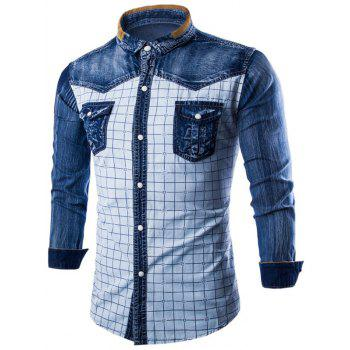 Denim Insert Pocket Grid Shirt