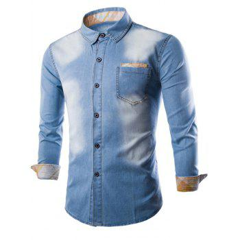 Breast Pocket Plaid Insert Button Up Denim Shirt