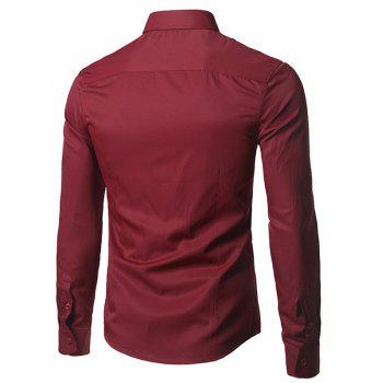 Plain Button Up Long Sleeve Shirt, BURGUNDY, XL in Shirts ...
