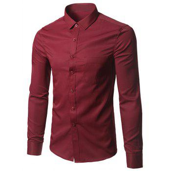 Plain Button Up Long Sleeve Shirt