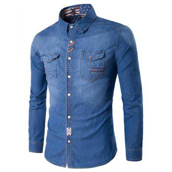 Suture Pockets Turndown Collar Denim Shirt