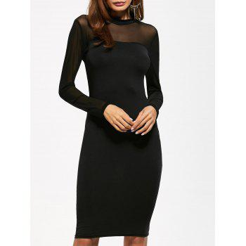 Mock Neck See Through Knee Length Bodycon Dress