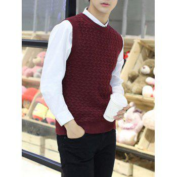Kink Design Crew Neck Sleeveless Sweater Vest