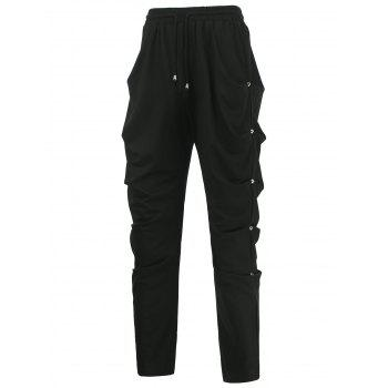 Drawstring Rivet Embellished Draped Harem Pants