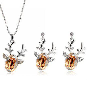 Christmas Elk Rhinestone Necklace and Earrings