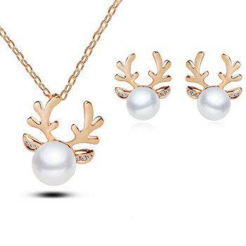 Faux Pearl Elk Necklace and Earrings