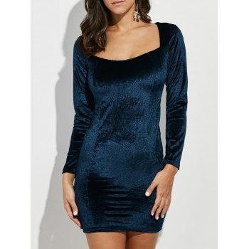 Square Collar Mini Velvet Bodycon Dress