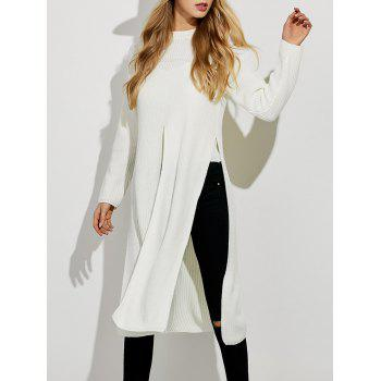 Ripped High Slit Pullover Sweater