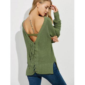 Backless Lace Up Ribbed Sweater