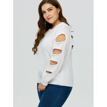 Pull Grande Taille Col Rond Manches Découpées - Blanc 3XL