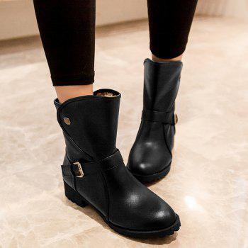 Buy Buckle Strap Low Heel Mid Calf Boots BLACK