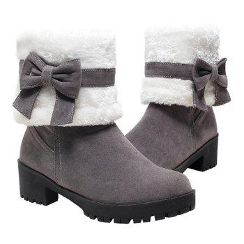 Bowknot Fur Lined Mid Calf Boots - GRAY GRAY