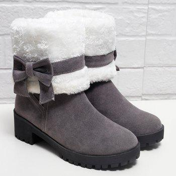 Bowknot Fur Lined Mid Calf Boots - GRAY 37