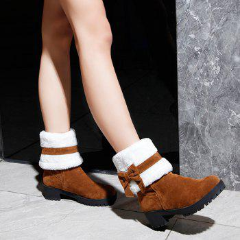Bowknot Fur Lined Mid Calf Boots - 39 39