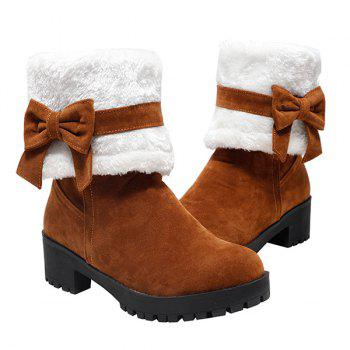 Bowknot Fur Lined Mid Calf Boots - YELLOW YELLOW