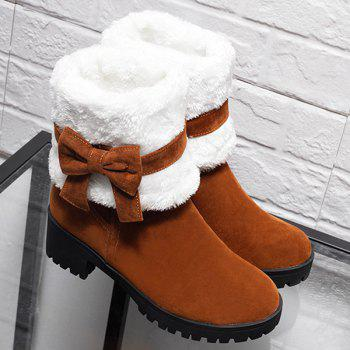 Bowknot Fur Lined Mid Calf Boots