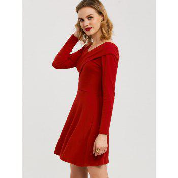 High Waist Bandage Long Sleeve Dress - RED XL