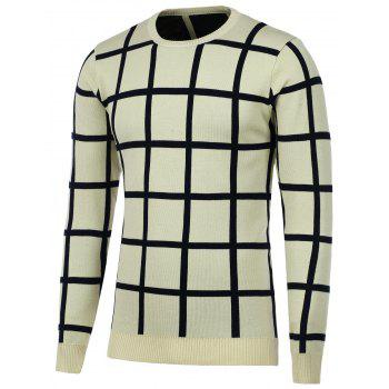Crew Neck Knitted Grid Sweater