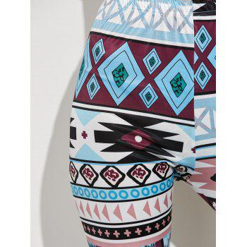 High Waist Geometric Skinny Aztec Print Leggings - COLORMIX L