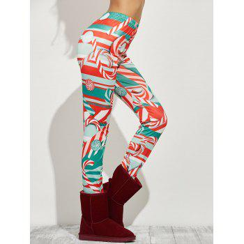 High Waist Skinny Christmas Candy Leggings - RED RED
