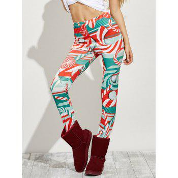 Leggings taille haute Candy Skinny Noël - Rouge L