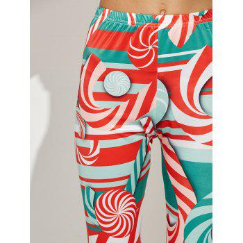 High Waist Skinny Christmas Candy Leggings - RED S