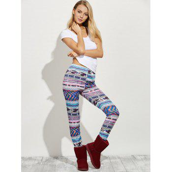 High Waist Tight Christmas Leggings - COLORMIX M