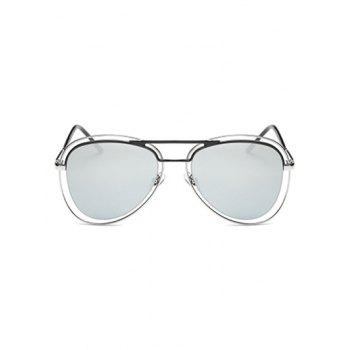 Hollow Out Rims Mirrored Pilot Sunglasses - SILVER