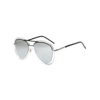 Hollow Out Rims Mirrored Pilot Sunglasses