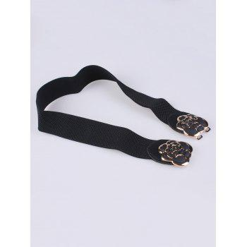 Rose Carve Insert Clasp Buckle Cinch Waist Belt - BLACK