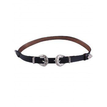 Skinny Faux Leather 2 Buckle Belt