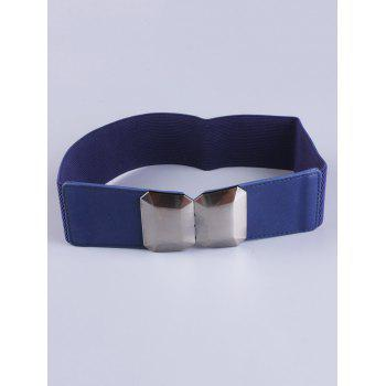 Elastic Waist Belt with Smooth Alloy Buckle - BLUE BLUE