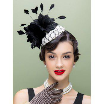 Flower Feather Hair Clip Pillbox Hat