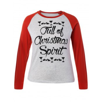 Plus Size Raglan Sleeve Christmas T-Shirt