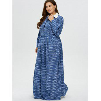 Plus Size Printed Maxi Dress - BLUE L