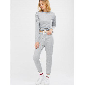 Sports Tee With Drawstring Sports Pants - LIGHT GRAY S