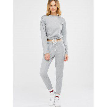 Sports Tee With Drawstring Sports Pants - LIGHT GRAY LIGHT GRAY