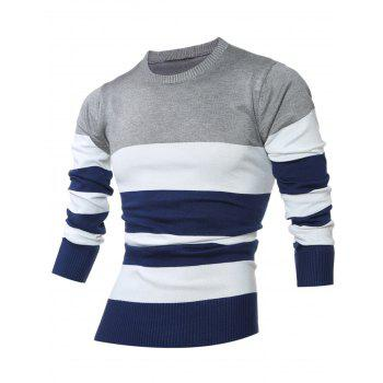 Crew Neck Colorblock Striped Sweater