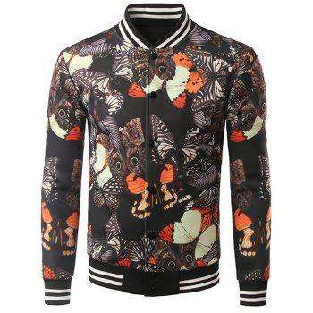 Button Up Stand Collar Butterfly Printed Jacket