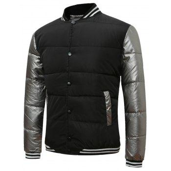 Color Block Button Up Rib Insert Quilted Jacket