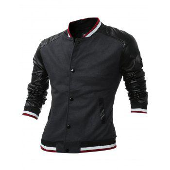 Stand Collar Button Up PU Leather Panel Jacket