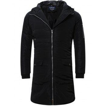 Zipper Up Cuffed Hooded Quilted Coat
