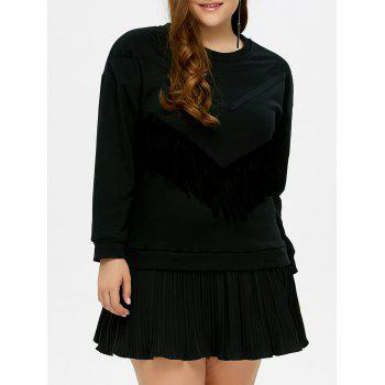 Plus Size Fringed Insert Pleated Dress