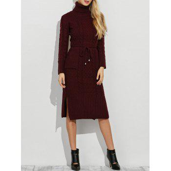 Turtleneck Side Slit Belted Long Sleeve Jumper Dress