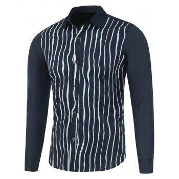 Vertical Striped Long Sleeve Button Up Shirt