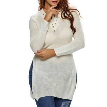 Long Side Slit Lace-Up Long Sweater