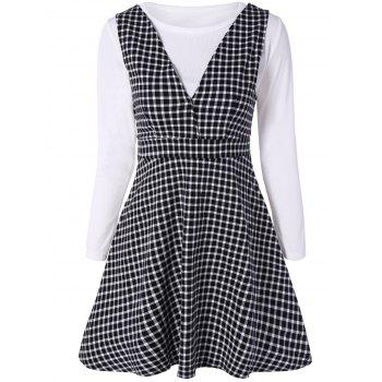 Long Sleeve T-Shirt and Check Pinafore Dress Set