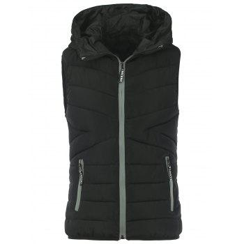 Letter Hooded Zippered Padded Vest