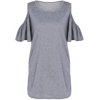 Cold Shoulder Flounced Shift Dress